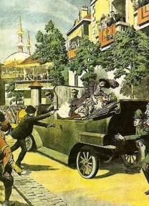 O assassinato do arquiduque Francisco Ferdinando em Saravejo, no dia 28 de junho de 1914.