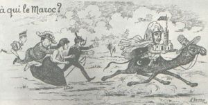 Ilustração representando os reis da Espanha e da Grã-Bretanha, Marianne (símbolo da República Francesa) e o imperador da Alemanha correndo atrás do sultão marroquino.