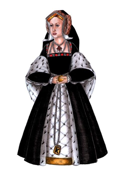 Rainha Catarina de Aragão em seu vestido de corte (desenho e pintura de Renato Drummond Tapioca Neto).