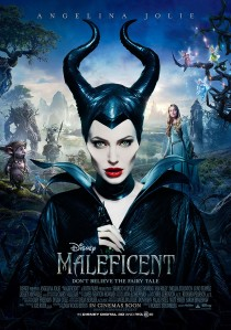 "Pôster do filme ""Maleficent"" (2014), com Angelina Jolie no papel principal."