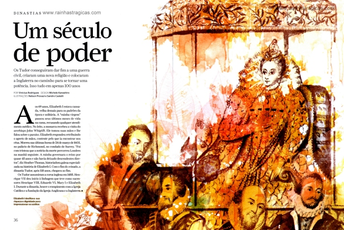 Ilustração da rainha Elizabeth I e seus súditos, assinada por Nelson Provazi para a edição n° 65 da Revista Aventuras na História.