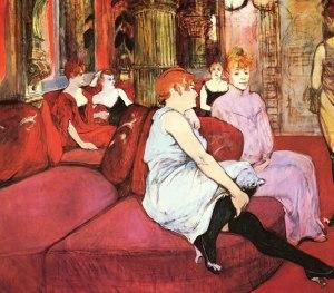 Salão de cortesãs parisienses na rue des Moulins, por Henri Toulouse-Lautrec (1894).
