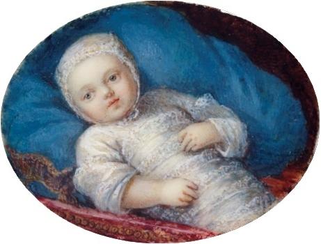 Maria Antonieta recém-nascida, em 1755 (artista desconhecido).