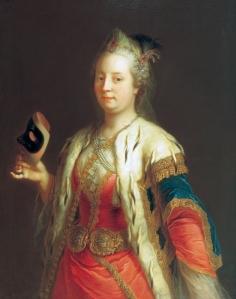 Retrato de Maria Teresa segurando uma márcara, por Martin van Meytens (c. 1744).