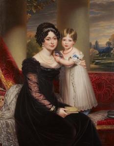 Vitória de Saxe-Coburgo-Saalfeld e sua filha, Vitória (artista desconhecido).