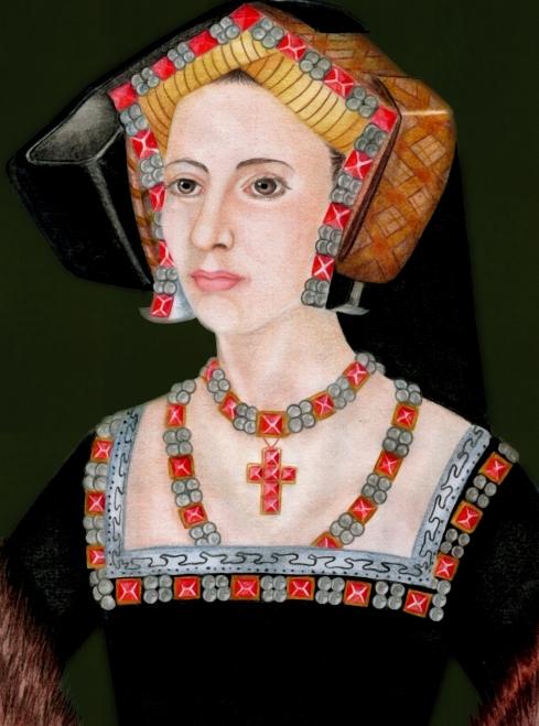 Ilustração de Ana Bolena baseada no famoso retrato da medalha de 1534 (desenho e pintura de Renato Drummond Tapioca Neto).