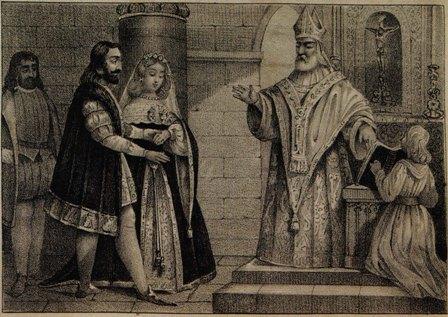 Gravura fictícia, representando o casamento secreto de D. Pedro I de Portugal com Inês de Castro.