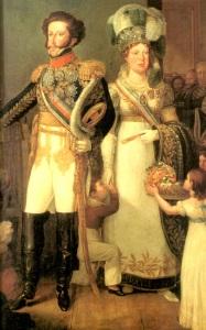 D. Pedro I e D. Leopoldina em trajes de Gala, por Simplício Rodrigues de Sá.