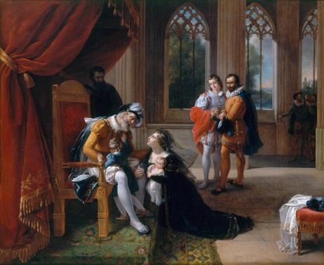 Inês de Castro com seu filho ajoelhada perante D. Afonso IV, pedindo misericórdia para o príncipe D. Pedro (por Eugénie Servières 1786-1820).