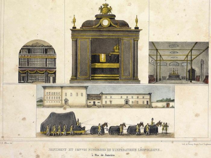 Monumento e comboio fúnebre da Imperatriz leopoldina, por Debret e Thierry Freres.