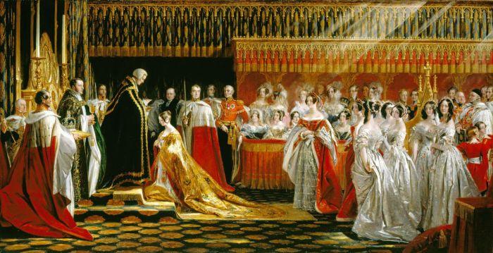O Arcebispo da Cantuária  coloca em Vitória a insígnia real. Enquanto isso, um raio de sol ilumina a silhueta da monarca. Tela de George Hayter (1838).