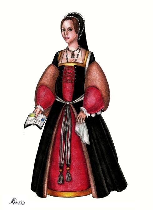 Ana Bolena, rainha da Inglaterra, grávida de sua filha, princesa Elizabeth (desenho e pintura de Renato Drummond Tapioca Neto).