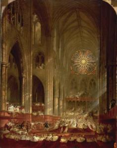 Interior da Abadia de Westminster no dia da coroação da rainha Vitória. Tela de John Martin, 1839.