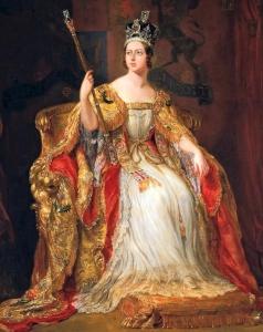 Detalhe do quadro pintado por Sir George Hayter, retratando Vitória sentada no trono, com a coroa na cabeça e cetro na mão (1838).