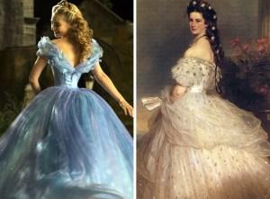 O vestido do baile usado por Ella foi feito inspirado em retratos da realeza do século XIX, como podemos observar no quadro da Imperatriz Sissi.