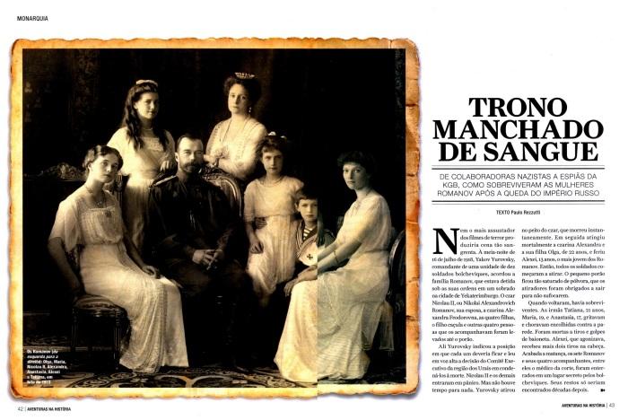 Os Romanov (da esquerda para a direita): Olga, Maria, Nicolau II, Alexandra, Anastasia, Alexei e Tatiana, em foto de 1913.