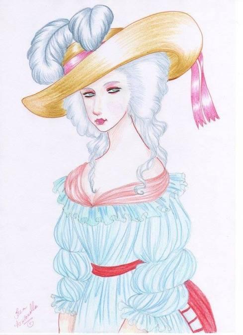 Ilustração de Maria Antonieta em trajes campestres, feita por Isla Antonello. Se você tiver um desenho legal, de alguma rainha da história, então envie para nossa página no facebook. Os mais criativos serão publicados no blog!
