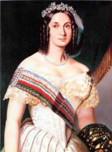 Retrato de D. Teresa Cristina, recém-casada com D. Pedro II, por artista desconhecido.