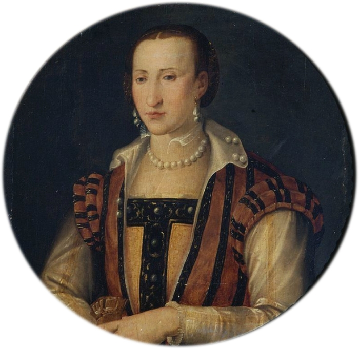 Retrato de Eleonora de Toledo, por artista desconhecido. Na imagem, ela usa o mesmo corpete com o qual foi sepultada, em 1562.