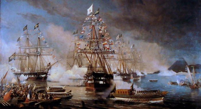 Chegada da Fragata Constituição ao Rio de Janeiro. Óleo sobre a tela de Eduardo de Martino.
