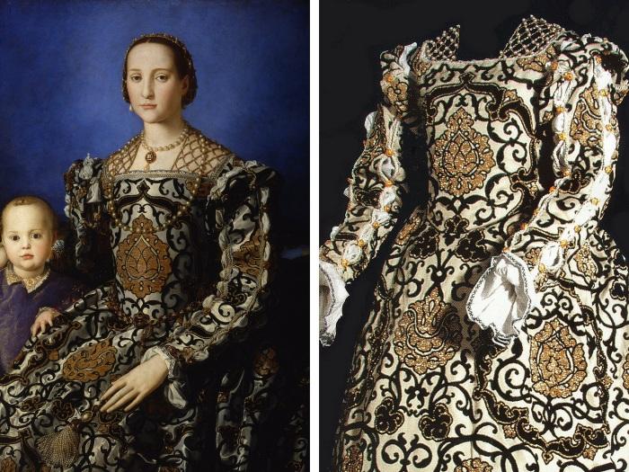 À esquerda, o retrato de Eleonora de Toledo acompanhada de seu filho, pintado por Agnolo Bronzino. À direita, uma reconstrução do vestido usado por ela no mesmo retrato.
