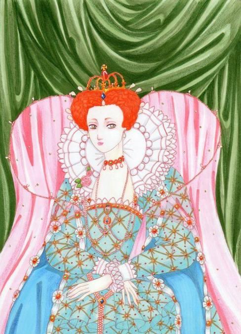 Ilustração de Elizabeth I, feita por Isla Antonello. Se você tiver um desenho legal, de alguma rainha da história, então envie para nossa página no facebook. Os mais criativos serão publicados no blog!