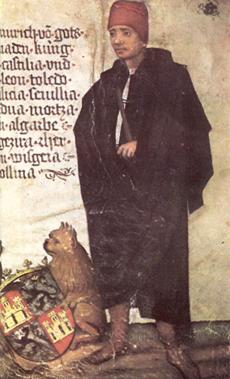 Iluminura retratando Henrique IV de Castela, por artista e data desconhecidos.