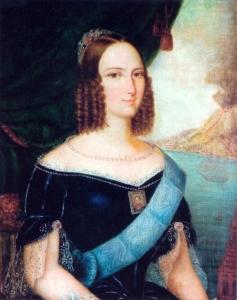 Retrato de Teresa Cristina de Bourbon enviado à D. Pedro II por ocasião das negociações do casamento. (atribuído a José Correia de Lima, 1843).