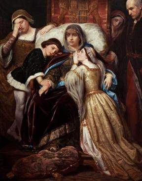 """Detalhe do quadro """"A demência de Dona Isabel de Portugal"""", por Pelegrín Clavé y Roqué (1855)."""