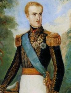 Detalhe da tela de Johann Moritz Rugendas, retratando D. Pedro II à época de seu casamento com Teresa Cristina.