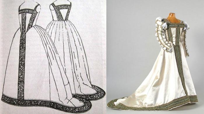 À esquerda, o desenho do vestido de Eleonora de Toledo feito por Janet Arnold para o livro