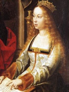 """Detalhe do quadro """"Our Lady of the Fly"""" (c. 1520), atribuído a Gerard David, retratando Isabel de Castela quando jovem."""