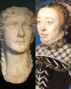 Busto de Agripina (à esquerda) e retrato de Catarina de Médici (direita).