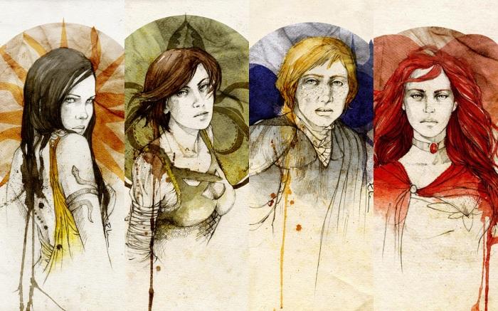Da esquerda para a direita: Arianne Martell, Asha Greyjoy, Brienne de Tarth e Melisandre de Asshai. Ilustrações de Elia Fernández.