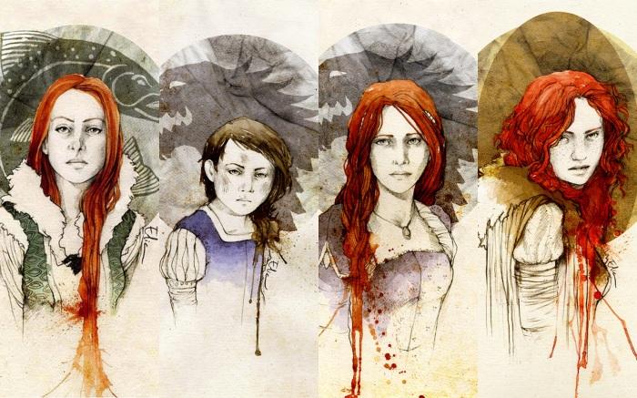 Da esquerda para a direita: Catelyn Stark, Arya Stark, Sansa Stark e Ygritte. Ilustrações de Elia Fernández.