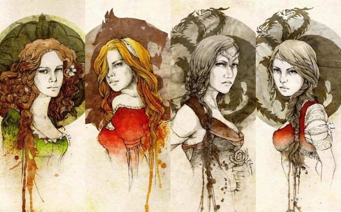 Da esquerda para a direita: Margaery Tyrell, Cersei Lannister, Visenya Targaryen e Daenerys Targaryen. Ilustrações de Elia Fernández.