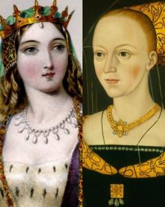 Margarida de Anjou (esuqerda) e Elizabeth Woodville (direita).