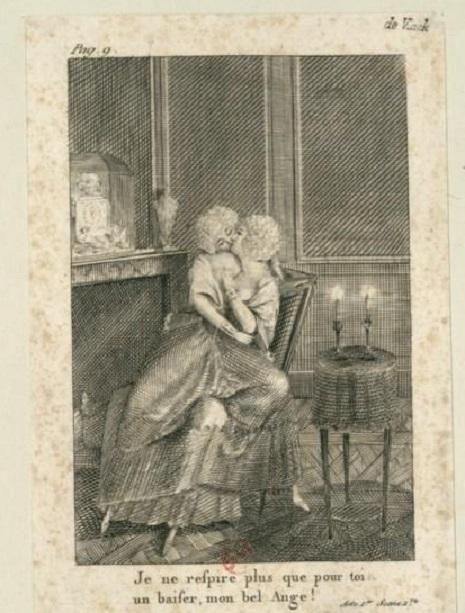 Panfleto pornográfico retratando a rainha da França, Maria Antonieta, em um romance lésbico com a sua amiga, a duquesa de Polignac.