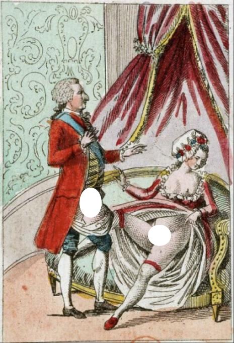 Panfleto que retrata Maria Antonieta rejeitado o marido, Luís XVI.