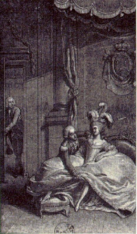 Panfleto retrato a rainha num caso extra-conjugal com o cunhado, conde d'Artois.