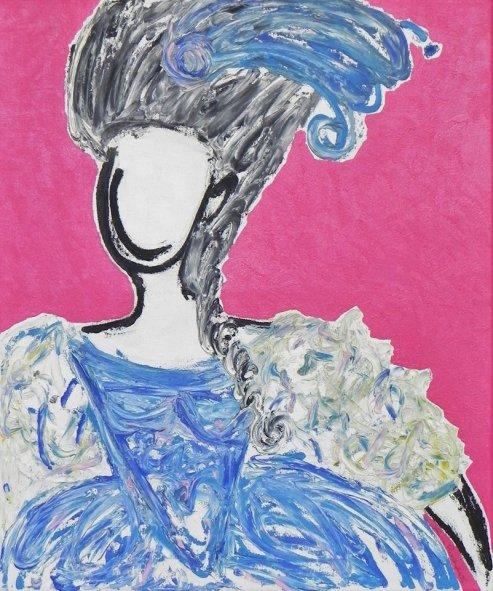 Arte contemporânea, retratando Maria Antonieta, feita pela artista Aline Pascholati (acrílico e óleo sobre tela, 50X40cm, 2014).
