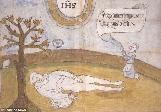 Imagem retratando Darnley morto em Kirk O'Field, Edimburgo. Como podemos observar, seu corpo está parcialmente coberto.