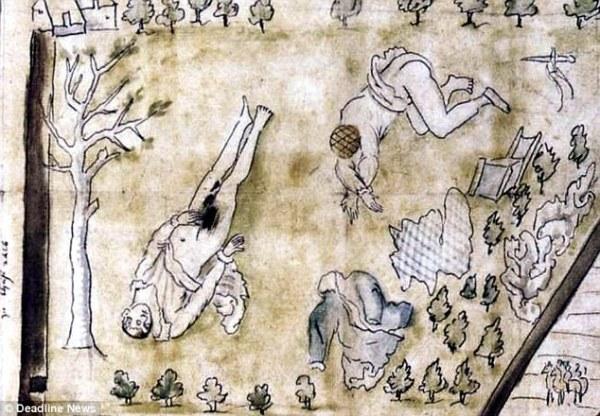 Os corpos seminus de Darnley e seu escudeiros foram encontrados abaixo de um pomar, após a explosão da casa onde o rei passava a noite. Detalhe de painel contemporâneo à morte de Darnley, que retrata as circunstâncias em que seu corpo fora encontrado.