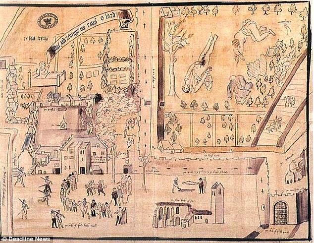 Painel contemporâneo à morte de Darnley, que retrata as circunstâncias em que seu corpo fora encontrado.