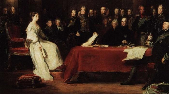 A jovem rainha Vitória presidindo sua primeira sessão com seu Concelho Privado.