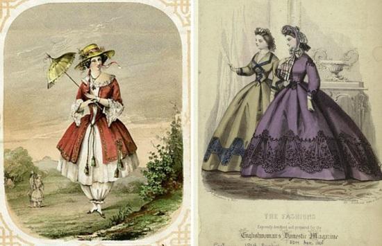 Exemplo da moda feminina importada para o Brasil entre as décadas de 1850-70.