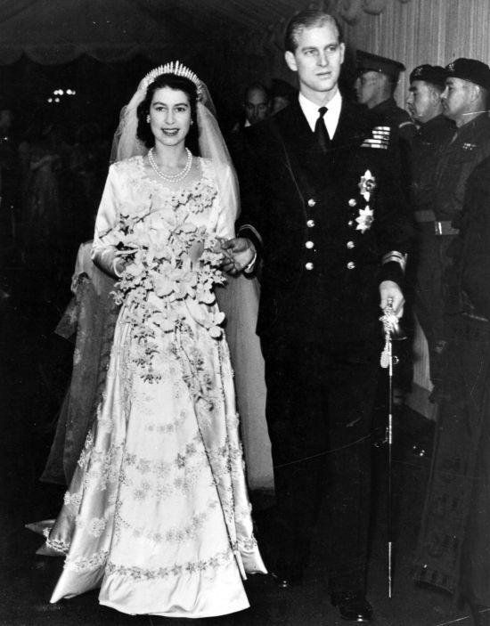 A princesa Elizabeth e o príncipe Philip no dia do casamento, em 20 de novembro de 1947.