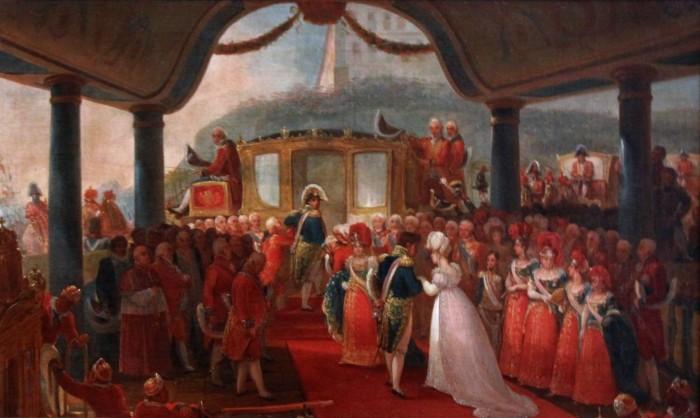 Desembarque da Princesa Real D. Leopoldina, segundo estudo de Jean-Baptiste Debret.