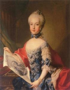 Arquiduquesa Maria Carolina, por artista desconhecido (c. 1765-7). No retrato, ela usa o mesmo vestido de sua irmã, Maria Josefa.