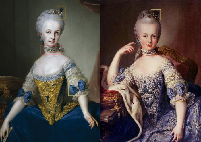 Quadro comparativo entre o retrato de Maria Josefa, pintado por Anton Rapahel Mengs (1767), e o possível retrato de Maria Antonieta, pintado por Meytens. Ambas estão usando os mesmos adereços: as mangas do vestido, os brincos, a gargantinha e as joias no cabelo.
